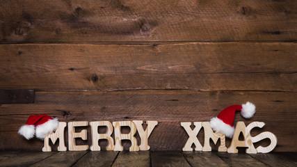 Merry Xmas Weihnachtskarte: Holz Hintergrund weihnachtlich