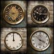 orologi fondo legno collage