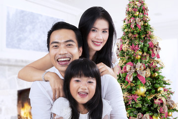 Cheerful family and christmas tree