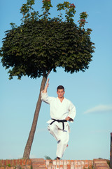 Man practicing martial arts in nature
