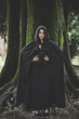 canvas print picture - beautiful dark vampire woman with black mantle and hood
