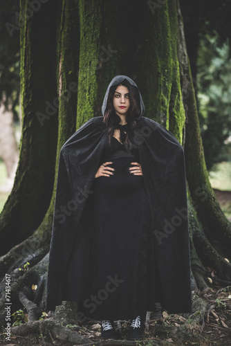 canvas print picture beautiful dark vampire woman with black mantle and hood