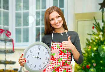 housewife with a clock