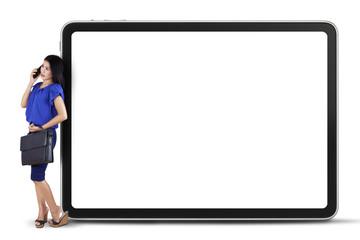 Female entrepreneur and whiteboard