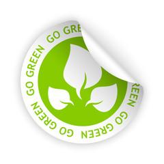vector go green bent sticker