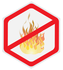 Fire, prevention, sign, hexagon