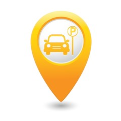 Parking sign on map pointer, vector illustration
