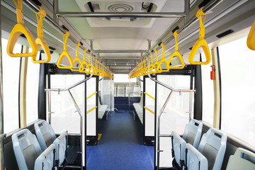 Interior of modern bus