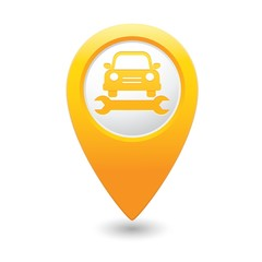 Car service. Car with tool icon on yellow map pointer