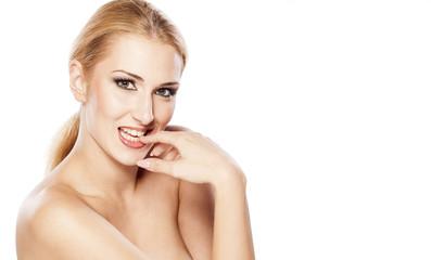 seductive beautiful blond on white background