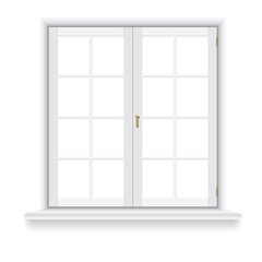 Closed window on white background