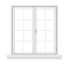 Closed window on white background