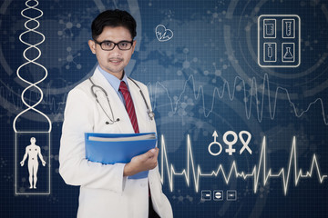 Male doctor and digital background