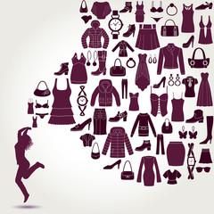 Women's fashion background. Clothing and accessories icons.