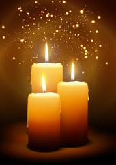 Kerzen, Advent, Weihnachten, Kerzenlicht, Schein, drei, Candle