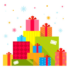 Vector Christmas illustration of the piles of presents on white
