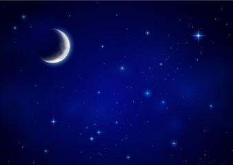 Nachthimmel mit Mondsichel und Sterne