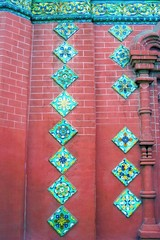 Colorful tails on the Epiphany church facade. Yaroslavl, Russia.