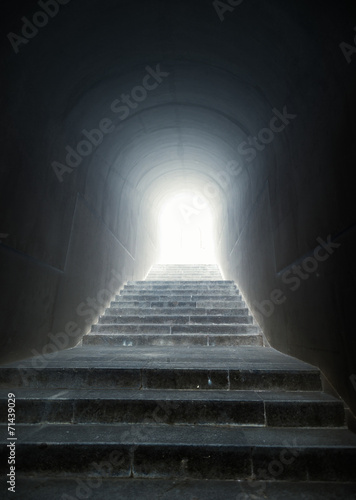 Aluminium Tunnel staircase in the tunnel with light at the end