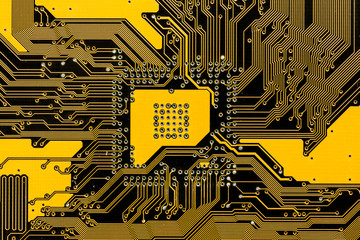 Black and yellow pcb circuit of motherboard