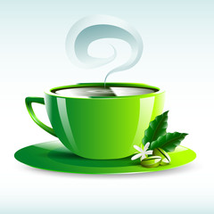 vector illustration of a green cup of hot