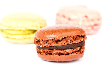 Color macarons isolated on white background