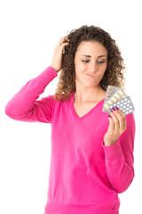 Frau mit Arznei
