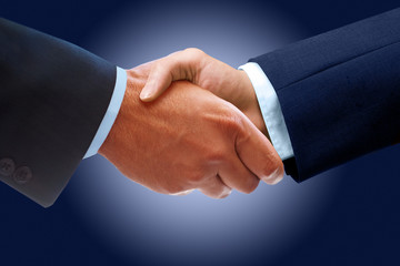 Businessman Handshake on Blue Background
