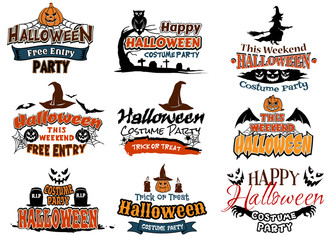 Colorful set of Happy Halloween designs