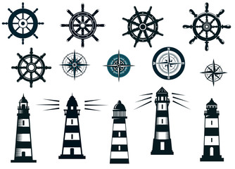 Set of marine or nautical themed vector icons