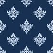 Pretty blue damask style arabesque pattern