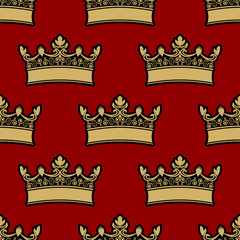 Heraldic crown seamless pattern