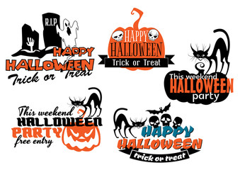 Orange and black Halloween banners