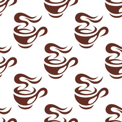 Steaming cup of espresso coffee seamless pattern