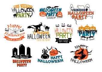Halloween party and Happy Halloween designs