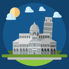 Flat design of piza square buildings