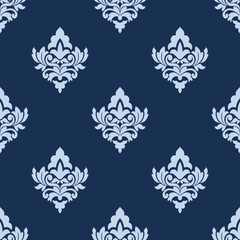 Pretty blue damask style arabesque pattern