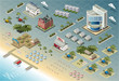 Detailed illustration of Isometric Seaside Buildings City Map Vector - 71442485