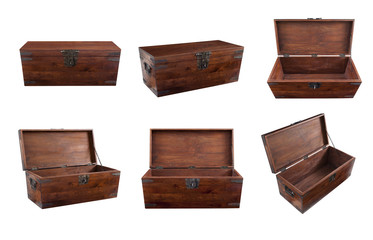 Collage of wooden chest