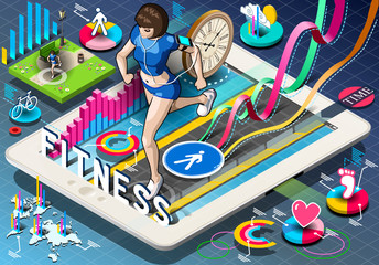 Isometric Infographic with Jogging Woman