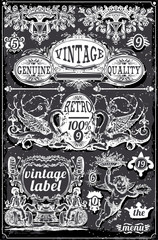Vintage Blackboard Banners and Labels
