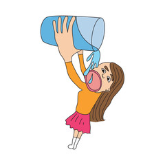 Woman drinking a cup of water