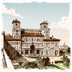 Vintage Hand Drawn View of Villa Borghese in Rome