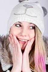 Portrait of girl in winter hat