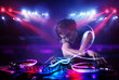 Leinwanddruck Bild - Disc jockey playing music with light beam effects on stage