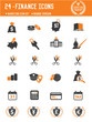 24 Financial icons on white background,orange version