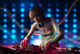 Young Dj girl mixing records with colorful lights poster