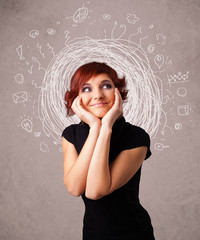 Pretty young girl with abstract circular doodle lines and icons