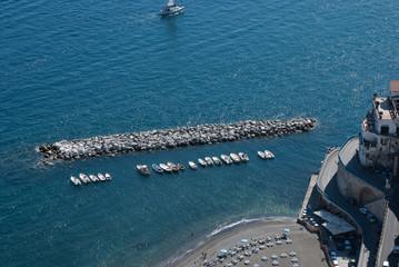 Breakwater in the bay city of Atrani, Amalfi Coast.