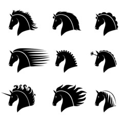 Set silhouette of a beautiful horse head